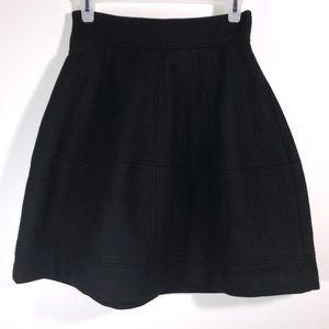 Theory Wool Blend Black Paneled Mini Skirt Size 2